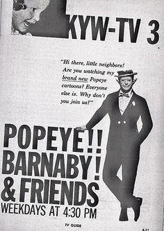 Linn Sheldon as Barnaby in Cleveland, Ohio 1956 Cleveland Rocks, Cleveland Ohio, Columbus Ohio, Cincinnati, Lorain Ohio, Popeye Cartoon, Detroit History, The Buckeye State, Radio Personality