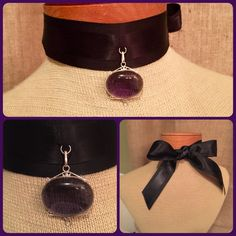 My rejected entry to Rustic Cuff Project Cuffway  made w/RC ribbons, sterling silver & purple amethyst pendant.