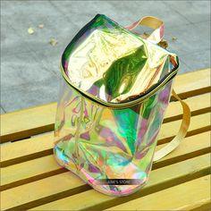 Iridiscente HARAJUKU Kiko láser mochila transparente