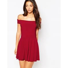 Love Off The Shoulder Skater Dress ($33) ❤ liked on Polyvore featuring dresses, wine, wine dress, red off the shoulder dress, off shoulder dress, slimming dresses and tall dresses