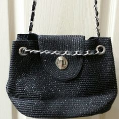 Vintage double chain bag Loop chain bag. Can be lengthened or shortened to your liking for shoulder or crossbody wear. Black with silver stitching. Vintage Bags Crossbody Bags