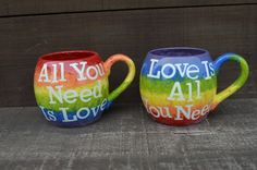 OOAK All You Need Is Love / Love Is All You Need - Beatles Quote 26 oz. Mug Set - Rainbow Stripes with White Text on Etsy, $69.26 AUD