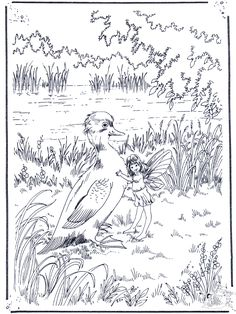 Fairy hugging a duck! Printable adult coloring page