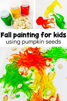 Use pumpkin seeds for fun process art with your preschool this fall! This is a fun project around Halloween, or even afterwards with leftover pumpkin seeds. It's a great autumn art activity that toddlers would love, too! Fall Preschool Activities, Halloween Activities For Kids, Preschool Crafts, Painting Activities, Autumn Painting, Autumn Art, Painting For Kids, Easy Fall Crafts, Fall Crafts For Kids