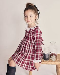 Little Girl Outfits, Cute Outfits For Kids, Girly Outfits, Tartan, Toddler Dress, Toddler Girl, Baby Girl Fashion, Kids Fashion, Little Girl Pictures