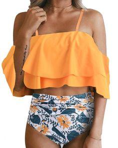 Dainzuy Women Retro Flounce High Waisted Bikini Halter Neck Two Pieces Swimsuit Backless Bottom Bathing Suit