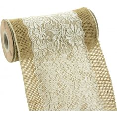 "Scalloped Edge White Lace on Burlap Ribbon (8"" by 10 Yards)"