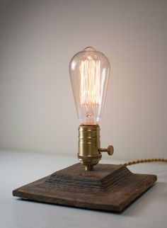 steampunk desk lamp reclaimed wood wooden table lamp edison bulb