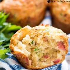 Light and fluffy savory muffins with cheddar and crispy bacon.