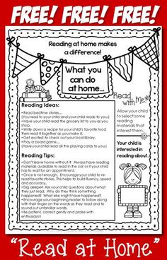 Love this! Great Back to School item to send home to parents. #ReadAtHome