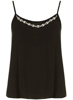 Black necklace trim cami - Tops & T-Shirts  - Clothing