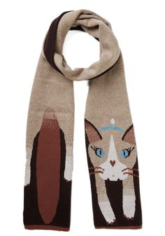 A Perfect Cat-ch Scarf. Your search for the ideal cold-weather layer is complete with this cat-themed scarf from Yumi! #brown #modcloth