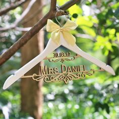 Personalized Wooden Wedding Hanger with Name and Date