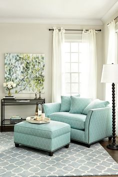 love the color pallet here!  aqua chair grey rug green blue and grey painting - Tate Sleeper from Ballard Designs