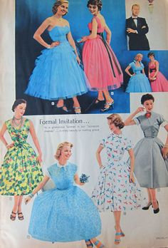 50s party dresses Spiegel catalog 1955 #50sfashion #1950sfashion #50sdresses