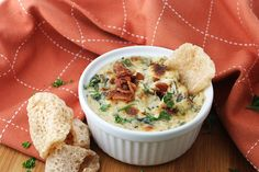 Bacon & Roasted Garlic Spinach Dip - Ingredients; 6 slices Bacon, 8 oz. Cream Cheese (softened), 1/2 cup Sour Cream, 5 oz. Fresh Spinach (wilted in bacon grease), 2.5 oz. Parmesan Cheese (grated), 1 1/2 tbsp. Fresh Parsley (chopped), 1 tbsp. Roasted Garlic, 1 tbsp. Lemon Juice, Salt and Pepper to Taste