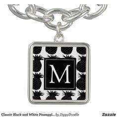 Classic Black and White Pineapple Pattern Charm Bracelet