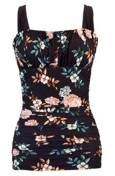 Ruched Square Tankini - Black Retro Floral - DM Fashion