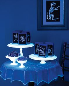 Glow in the dark platters and spiderweb tablecloth - perfect for Halloween