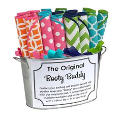 Booty Buddies..Protect your bathing suit bottom beside the pool or keep your ''booty'' dry at the beach with our neoprene mat. It is waterproof and machine washable and easily rolls up with a ribbon tie to fit in your bag.  monogramthat.com