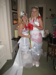 Hen / Bachelorette Party game. Make a wedding dress using plastic bags, tape, tin foil and toilet paper