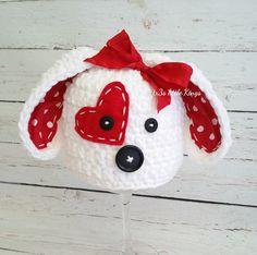 Valentines Puppy Hat Newborn Hat, valentines Photo prop, puppy love, hearts, Baby Girl or boy, puppy hat baby, White, Red Made to Order