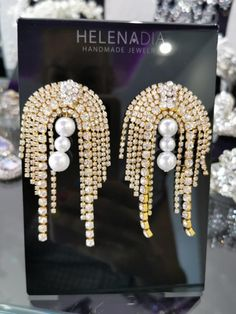 Fancy Earrings, Ear Jewelry, Sewing Clothes, Hair Accessories, Pearls, Clothes For Women, Chain, Crystals, Beading