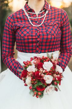 Flannel for country Christmas wedding photos! Love it! by JoPhoto, The Bride Link, and LB Floral!  http://www.thebridelink.com/blog/2014/02/18/country-christmas-wedding-ideas/