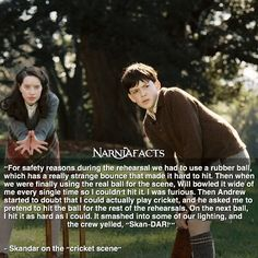 William, Anna, Skandar, and Georgie didn't play the Pevensie kids; the Pevensie kids played William, Anna, Skandar, and Georgie!!