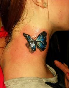 3D colourful realistic butterfly tattoo on neck - 50 Awesome Neck Tattoos  <3 !