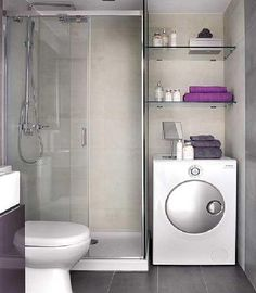 Example of bathroom with laundry unit inside. We would our laundry in a closet with a door