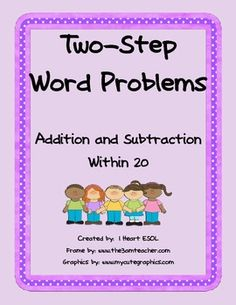 This file contains 16 two-step word problems using addition and subtraction within 20.  There are two word problems on one page.   Just cut apart and use for morning work, homework, in a math journal, in a math center, or as an assessment.    These word problem worksheets are great to use with 2nd graders throughout the year, or with first graders at the end of the school year.