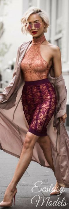 shoes for women, fashion womens shoes, best women s shoes - Lace set & duster from @ohpolly // Fashion Look by Micah Gianneli