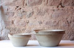 Exquisite Pair of Antique French Tian Bowls in Oatmeal by FarmGateVintage on Etsy