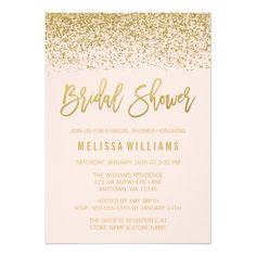Modern Blush Pink Faux Gold Glitter Bridal Shower