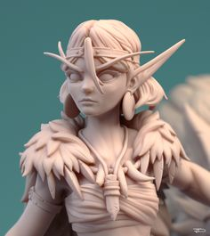 """A tribute to my favorite movie. """"What if princess Mononoke was in World of Warcraft universe ?"""" This was what I got in my mind when I sculpted this."""