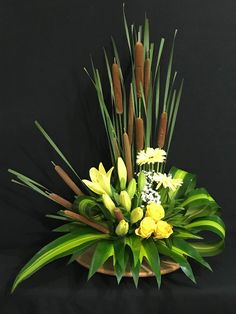 Cat tail flowers with foliage and yellow flowers Cat tail flowers with foliage and yellow flowers The post Cat tail flowers with foliage and yellow flowers appeared first on Easy flowers. Contemporary Flower Arrangements, Creative Flower Arrangements, White Flower Arrangements, Ikebana Arrangements, Flower Vases, Flower Art, Cactus Flower, Altar Flowers, Home Flowers