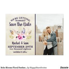 Boho Blooms Floral Feathers Bouquet Save The Date #boho #wedding #hippie #bohowedding #bohofloral #floral #weddingtrends #2018 #feathers #zazzle #weddinginspiration #weddinginvitations