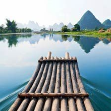 Photo about Bamboo raft in blue waters of Li River, Guangxi Zhuang Autonomous Region between Guilin and Yangshou, China with scenic karst mountains. Image of hill, river, blue - 21282130 Survival Shelter, Wilderness Survival, Survival Prepping, Survival Skills, Survival Equipment, Survival Life, Guilin, Rafting, Photo Wallpaper