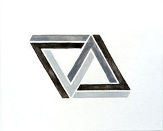 Linked Penrose Impossible Triangle / Geometric Art by prettyinc Penrose Triangle, Triangle Art, Triangle Design, Art Optical, Optical Illusions, Impossible Triangle, Geometric Art Tattoo, Pop Art Wallpaper, Woodworking Projects That Sell