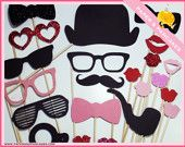 Photo Booth Props - 25 Piece Set - Photo Party Props On a Stick - Wedding / Birthday Photo Booth HIS AND HERS. $25.00, via Etsy.