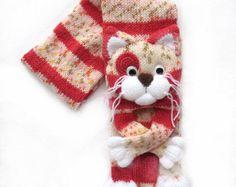 Tricot écharpe chat, écharpe tricot, écharpe animale, foulard chat, écharpe en tricot