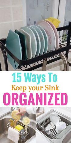 Under Kitchen Sink Organization, Countertop Organization, Fridge Organization, Diy Kitchen Storage, New Kitchen Gadgets, Tidy Kitchen, Real Kitchen, Kitchen Sponge, Kitchen Cupboards