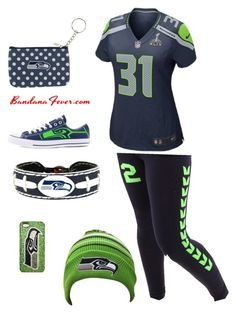 Seattle Seahawks ???? by jmneugebauer on Polyvore featuring polyvore, fashion, style, NIKE, Converse, GameWear, women's clothing, women's fashion, women, female, woman, misses and juniors