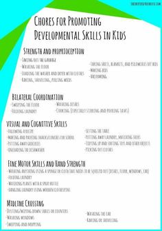 Chores for promoting developmental skills in kids