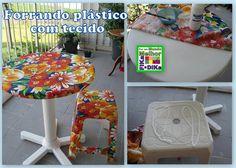 Artesanato Fofo: Aplicando tecido na mesa de plástico