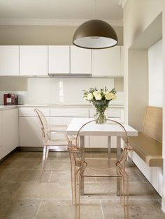 Neutral-infused kitchen & dining area. The slight blush color of the chairs is such a beautiful touch!