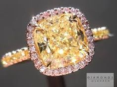 Image result for yellow cushion cut engagement rings