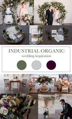 Industrial Organic wedding inspiration, green gray and purple wedding inspiration, denver wedding inspiration, airplane hangar wedding inspiration