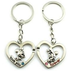FD899 Sweet Mickey Minnie Mouse Lover Keychain Keyring Keyfob Gift 1 Pair 2pcs:) in Modern (1970-Now) | eBay
